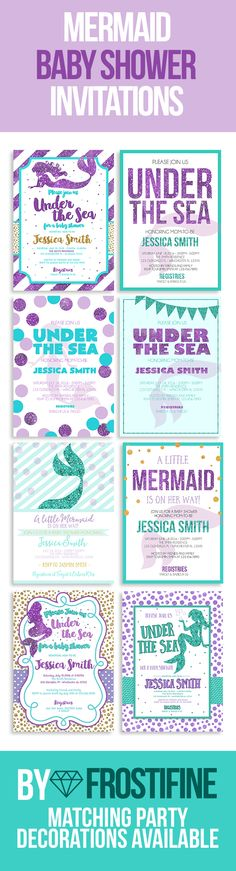 Mermaid baby shower invitations, printable cards. DIY baby shower invitations with instructions to get the high end result for less money spent. Teal and purple glitter with gold glitter elements. Different layouts and designs will fit anyones taste. Modern and elegant baby shower invitations and matching party decorations.