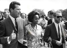 James Garner, Diahann Carroll and Paul Newman in Washington D.C. in 1963 for Dr. Martin Luther King's March on Washington. Marlon Brando can be seen over Jim's right shoulder.