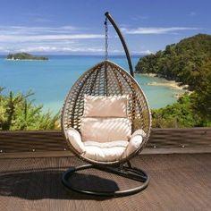 Luxury Garden Hanging Chair Brown Mix Rattan Cream Cushion, Cover XL: Amazon.co.uk: Garden & Outdoors
