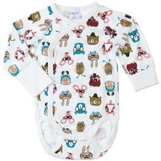 Love this! at Polarn O. Pyret UK & Ireland FOREST FRIENDS NEWBORN BABY BODYSUIT #polarnopyretuk #qualitychildrensclothes #colourfulkidsclothes Wrap-around bodysuit with an allover print of fun little animals. Extra-soft seams that don't chafe. Popper openings for easy dressing and nappy changes. The foldable cuffs extend the sleeves as the baby grows.