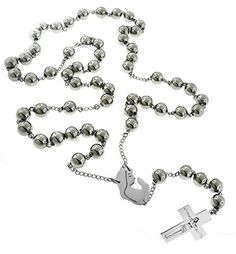 Catholic - Rosary Beads Pray Necklace Stainless Steel CHOICE 6mm Ball 24 Inches or 4mm Ball 18 Inches ** Continue to the product at the image link.