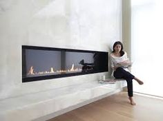contemporary fireplace ledge seat - Google Search