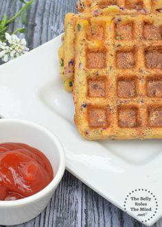 savory Semolina waffles made with purple cabbage, green onion, corn, carrots, and yogurt