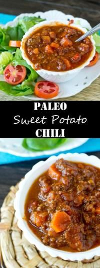 PALEO SWEET POTATO CHILI. All clean eating ingredients are used for this easy and healthy paleo chili recipe. Pin now to make later!