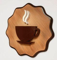 Kit 4 Quadros Decorativos Cozinha Café Pequeno no Coffee Shop Design, Cafe Design, Restaurant Interior Design, Cafe Interior, Diy Wood Projects, Wood Crafts, Coffee Cup Art, Coffee Signs, Wooden Art