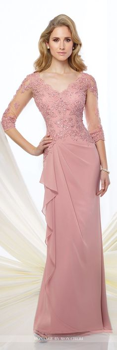 Chiffon slim A-line gown with illusion and lace three-quarter length sleeves, front and back scalloped V-necklines, hand-beaded lace appliqué bodice, side gathered skirt with cascading ruffle.