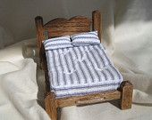 Dollhouse miniature rustic rope bed