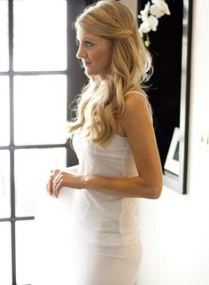 Long hair wedding, front pieces pinned back softly