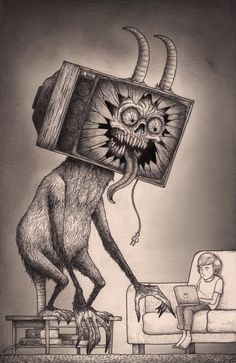 While your watching tv... your tv is also... | #scardeycats #scaryart
