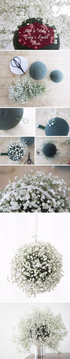 DIY Baby's Breath Wedding hanging Globes