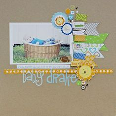 Baby Drake by Megan Klauer featuring Bella Blvd Baby Boy - Scrapbook.com Wendy Schultz via Bella Blvd onto Scrapbook Layout's.