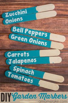 Make these easy DIY Garden markers - they are cheap, cute, and surprisingly simple to make. Perfect for your plants, vegetables or herbs garden. Fruit Garden, Edible Garden, Easy Garden, Summer Garden, Herbs Garden, Garden Crafts, Garden Projects, Garden Ideas, Diy Crafts