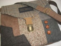 Recycled purse,  brown tweed wool,  upcycled mens suit coat, womens