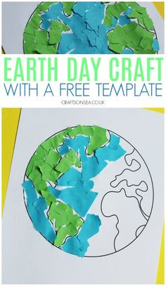 Simple Earth Day activity with a free template #earthday #kidsactivities #kidscrafts