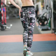 Black And White Dot Print Yoga Pants
