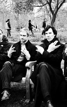 Martin is throwing gang signs but it looks like Ben is just telling us all to live long and prosper!