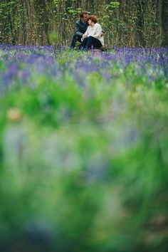 Relaxed, documentary Pre-Wedding Love Shoot in the New Forest Bride and Groom Bluebells