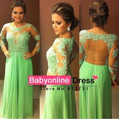 vestido festa formatura Elegant Appliques Lace Green Long Sleeve Prom Dresses 2014 Robe De Soiree Dubai Kaftan Dress