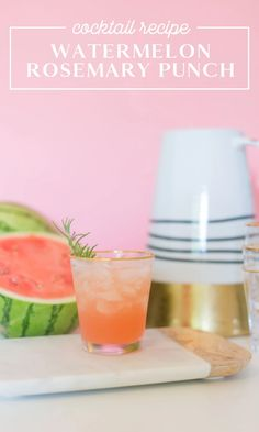 A Rosemary Watermelon Cocktail is so refreshing for summer! Click for this delicious and simple spiked punch recipe. It's a great cocktail to make in batches, for entertaining, for parties, or a backyard get together. Serve this easy to make recipe at your BBQs or Fourth of July! Easy Cocktails, Holiday Cocktails, Cocktail Drinks, Cocktail Recipes, Spiked Watermelon, Watermelon Cocktail, Punch Recipes, Meal Recipes, Cocktail Making