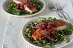 Warm Salmon and Cherry Arugula Salad Recipe (healthy & naturally dairy-free, gluten-free) Best Fish Recipes, Cherry Recipes, Salmon Recipes, Seafood Recipes, Healthy Recipes, Favorite Recipes, Seafood Soup, Healthy Salads, Free Recipes