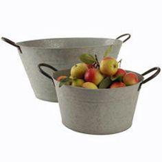 Vintage Grey Zinc Metal Oval Garden Planter Pot Bucket Basket Veg Fruit Storage