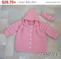 Nice warm Knitted jacket with a hood and headband for a girl 1 years, 2 years. Fastens with buttons. Handcrafted, made of merino wool yarn. Warm, with