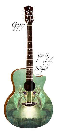 Diaphanous faeries hover in the twilight on both front and back of this guitar inspired by the artwork of John Atkinson Grimshaw. A folk cutaway, Spirit of the Guitar Painting, Guitar Art, Music Guitar, Cool Guitar, Playing Guitar, Ukulele, Guitar Room, Music Lessons, Guitar Lessons