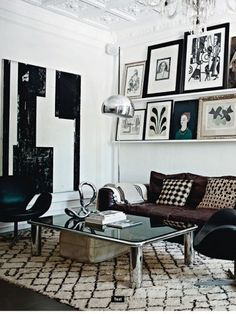 A touch of Luxe: Black and White abstract art (DIY)...