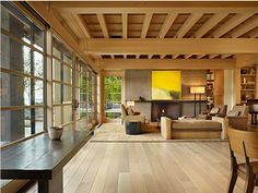 The wood, the ceiling, the windows.
