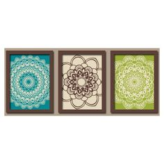 Peacock Teal Brown Green Flower Radial Sun Burst Doilies Tribal Artwork Set Of 3 Trio Bathroom Artworkwall
