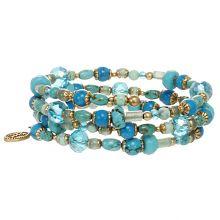Beaded wire bracelet w/ turquoise, green adventurine and swarovski crystals, handmade at Michal Golan studios USA