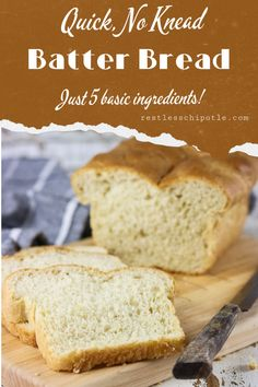 Batter Bread for Sandwiches Homemade white bread at its most basic! This easy, no knead, sandwich loaf has just 5 ingredients and is finished in less than 2 hours. It's a simple batter recipe that's perfect for everything from toast to pb&j. Batter Bread Recipe, Basic Bread Recipe, Knead Bread Recipe, No Knead Bread, Sandwich Loaf, Sandwich Bread Recipes, Dessert Bread, Dessert Recipes, Desserts