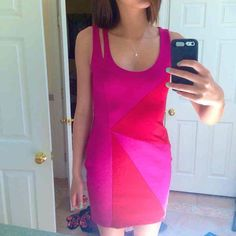 Pink and Red Color Block Bodycon Dress Back Zip Never worn, super chic, fully lined, double strap shoulder on one side, fits like a small Dresses Mini