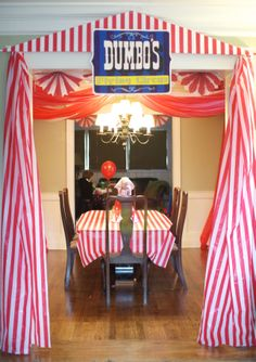 Circus Tent Entrance made with striped plastic tablecloths (covered a piece of foamboard that I cut out in the tent triangle shape) Trains Birthday Party, Train Party, Birthday Fun, Birthday Party Themes, Carnival Classroom, Circus Carnival Party, Carnival Ideas, Women Camping, Camping Chairs