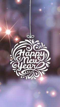 Happy New Year Typography Globe iPhone 6 Wallpaper