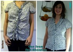 "How To ""Shrinkify"" A Too-Big Shirt With Just One Seam - at Fine Linen and Purple"