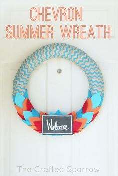 This fun and bold Chevron Summer Wreath is the perfect way to greet guests this summer.