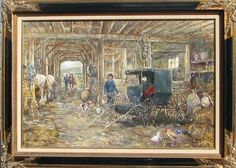 "Leslie Cope ""Henrys Courting Buggy"" Oil on Canvas, signed Leslie Cope 1990, canvas is in excellent condition, 35.5"" x 23.5"", frame is gilded wood and in excellent condition, 43.5"" x 32""."