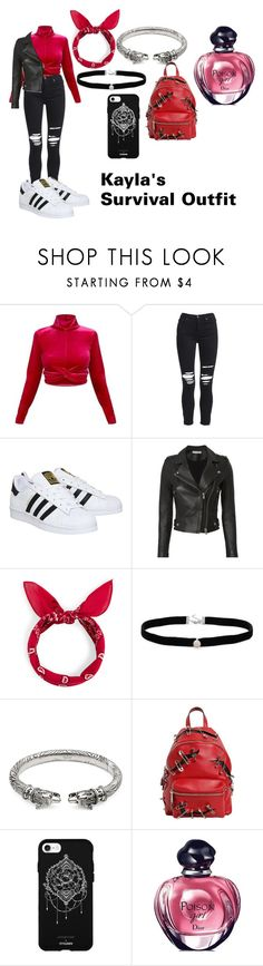 """""""Kayla's Survival Outfit"""" by nightmarethealphawolf on Polyvore featuring AMIRI, adidas, IRO, Amanda Rose Collection, Gucci, Moschino, Fifth & Ninth, Christian Dior, outfit and womenfashion"""