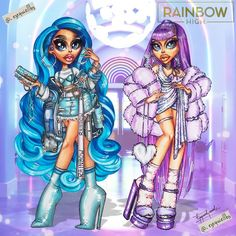 """@_ezequiellbs posted on their Instagram profile: """"Rainbow High 3 - Skyler Bradshaw & Violet Willow 💙💜 . . . . . . . #rainbowhigh #rainbow…"""" Reading Rainbow, Anime Outfits, Art Inspo, Poppies, Princess Zelda, Photo And Video, Photography, Blue, Profile"""