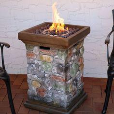 Sunnydaze Outdoor Tall Cast Rock Column Design Propane Gas Fire Pit - Fire Pit - Ideas of Fire Pit Wood Fire Pit, Gas Fire Pit Table, Concrete Fire Pits, Fire Pits For Sale, Outdoor Fire, Outdoor Decor, Outdoor Living, Gas Grill Reviews, Fire Pit Cooking