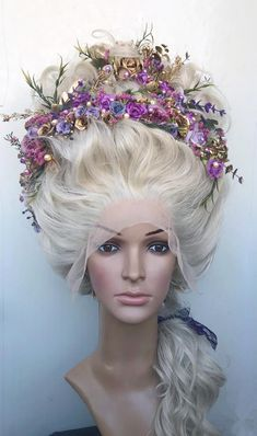 Carnival wig Blonde wig Marie-Antoinette wig Rococo wig century wig Decorated wig Styled wig Wig With Flowers Cosplay wig Drag wig Blonde Hair Extensions, Blonde Wig, Rococo, Baroque, Marie Antoinette, Latest Hairstyles, Wedding Hairstyles, 18th Century Wigs, 19th Century