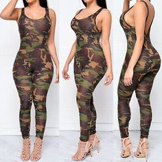 Camouflage Women's Rompers Jumpsuits 2017 Summer Sexy Sleeveless Backless Playsuit Skinny Overalls For Women Combinaison Femme Rompers Women, Jumpsuits For Women, Women's Rompers, Camouflage Jumpsuit, Army Camouflage, Camouflage Fashion, One Piece Bodysuit, Pants For Women, Clothes For Women