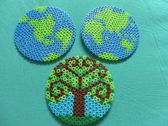 Earth Day going green globes hemispheres tree perler bead coasters set of three. $12.00, via Etsy.