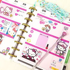 I didn't have a chance to finish up my Happy Planner over the weekend and still need to fill out my schedule....but so far here it is:)) I know....Look like a little girl made it Gotta love Hello Kitty at any age In case someone wondering where these HK stickers come fromI got sticker album from DT and besides they have HK sticker pocket you can buy separatelylike 6stickers inside&supposed to go with this sticker album.These stickers are so cute&a little larger than this Happy Planner square…