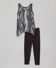 This Gray Sidetail Tank & Black Leggings is perfect! #zulilyfinds