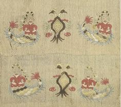 Greek embroidery Embroidery with Gorgons and double-headed eagles which, as allusions to legends about sea voyages, acquire a special protective-apotropaic meaning. From Skyros, Sporades, c. Benaki Museum, Double Headed Eagle, Greek Culture, Turkish Art, Greek Art, Beaded Embroidery, Athens, Folk Art, Bohemian Rug