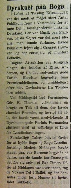 Møns Folkeblad omtaler dyrskue og ringridning på Bogø, tirsdag den 8. juli 1952. Teksten supplerer det tidligere bragte rytterbillede fra 1937. Fra Mia Gerdrups samling.