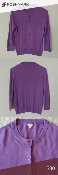 J. Crew 3/4 Sleeved Cardigan Purple 3/4 sleeved cardigan! Gently used and no flaws! Thanks for looking! J. Crew Sweaters Cardigans