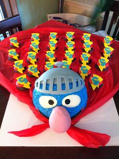 Super Grover to the rescue! We love these cupcakes beautifully displayed on Grover's red cape. Baby Boy Birthday, 3rd Birthday Parties, 2nd Birthday, Bouncy Ball Birthday, Grover Sesame Street, Seasame Street Party, Sesame Street Birthday Invitations, Twins 1st Birthdays, Muppet Babies